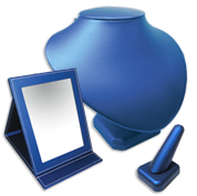 Blue Leatherette Displays